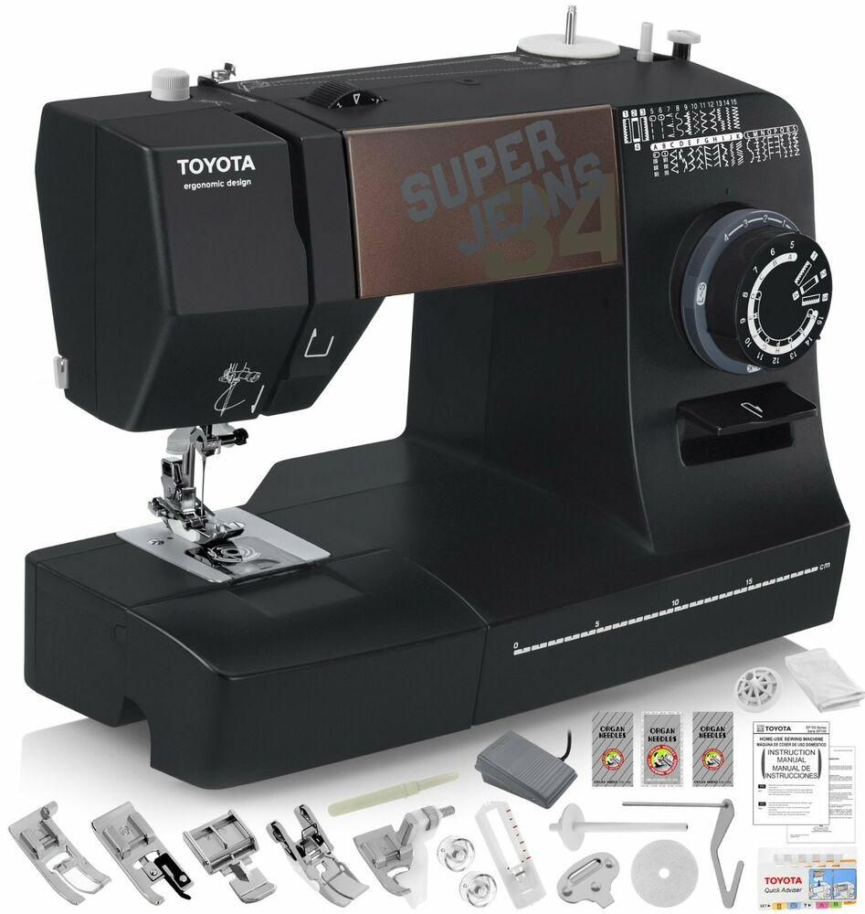 toyota super jeans j34 sewing machine with 34 built in. Black Bedroom Furniture Sets. Home Design Ideas