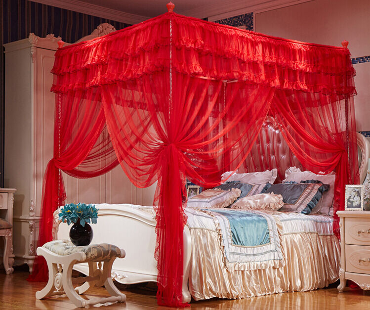 Red Princess Hight Qc 4 Post Bed Curtain Canopy Mosquito