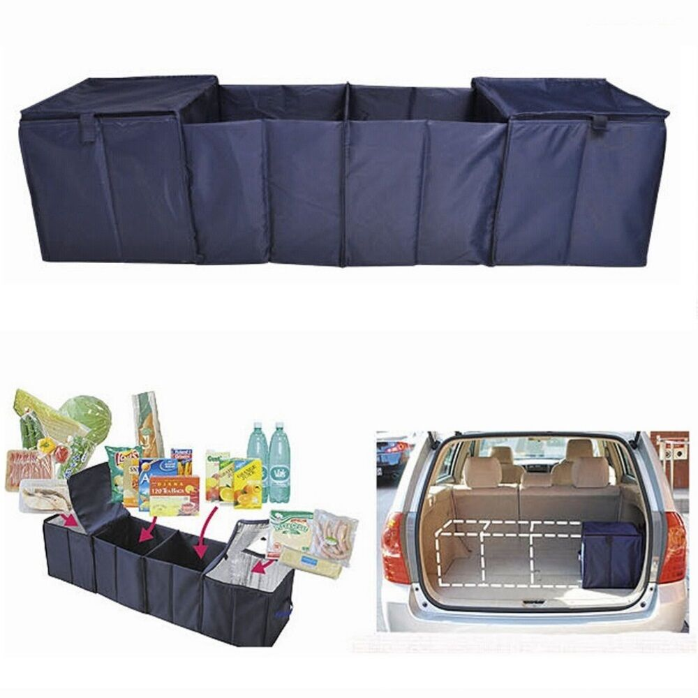 Collapsible Car Cargo Suv Organizer Trunk Storage Bag Folding W Cooler Warm