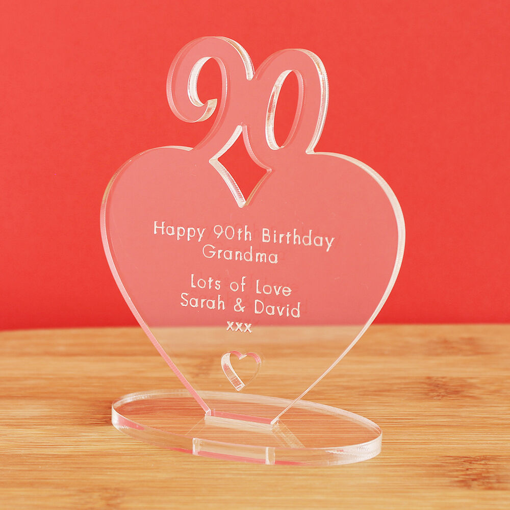 Details About 90th Birthday Personalised Milestone Heart Keepsake Gift Idea For HIM OR HER