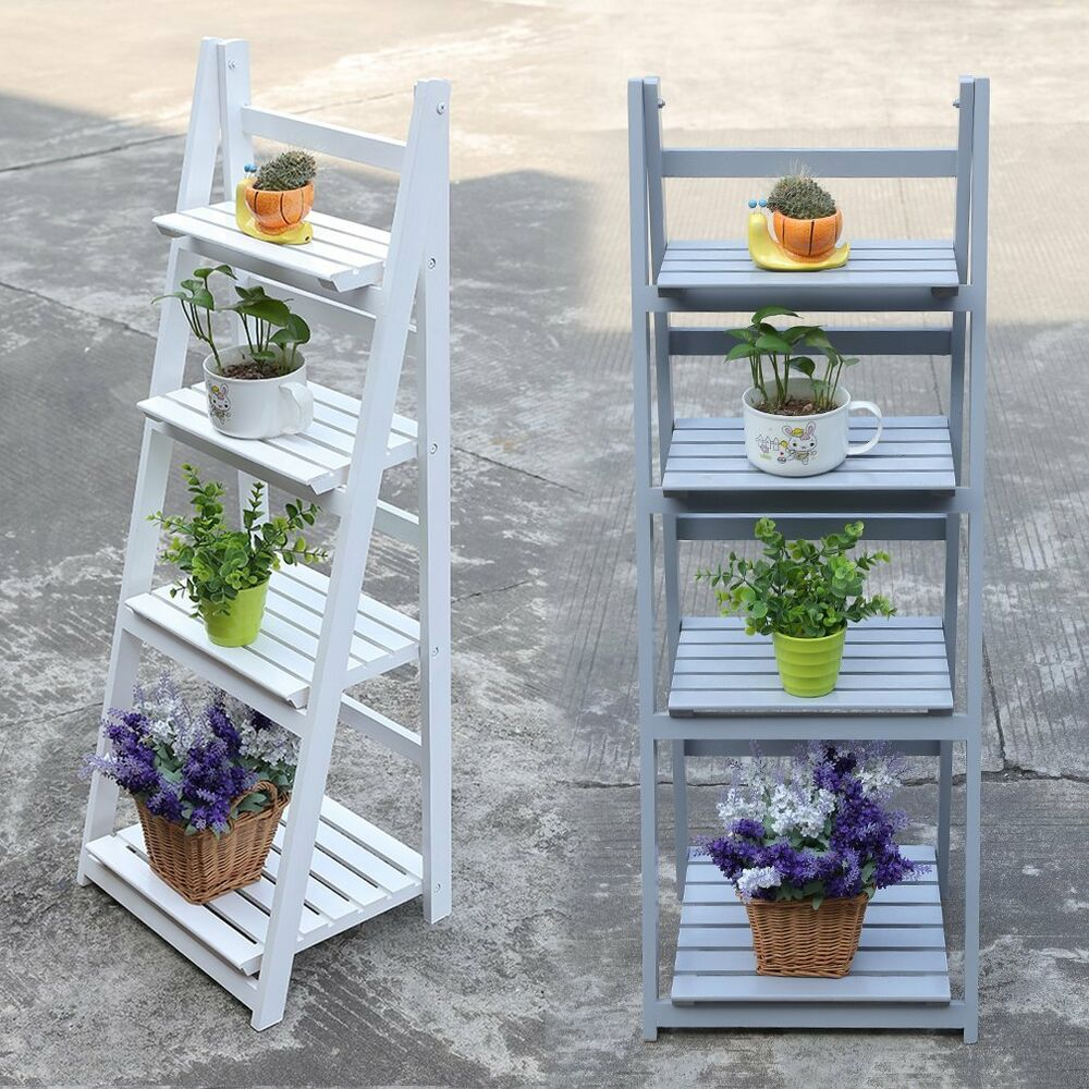 4 Tier Wooden Plant Free Stand Flower Display Shelf Garden