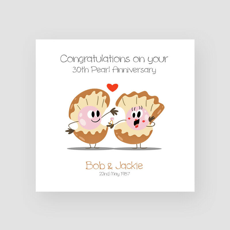 Funny Wedding Anniversary: Personalised Handmade 30th Pearl Wedding Anniversary Card