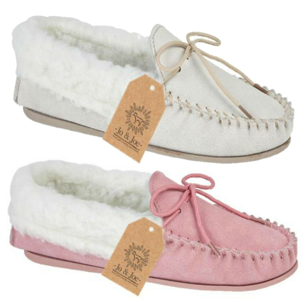 New Ladies Real Leather Suede Fur Slip On Moccasin