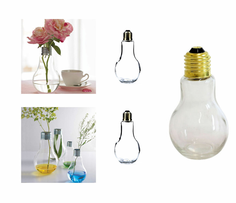 gl hbirne tischvase glass vase flasche pflanzen terrarium gl hlampe ebay. Black Bedroom Furniture Sets. Home Design Ideas