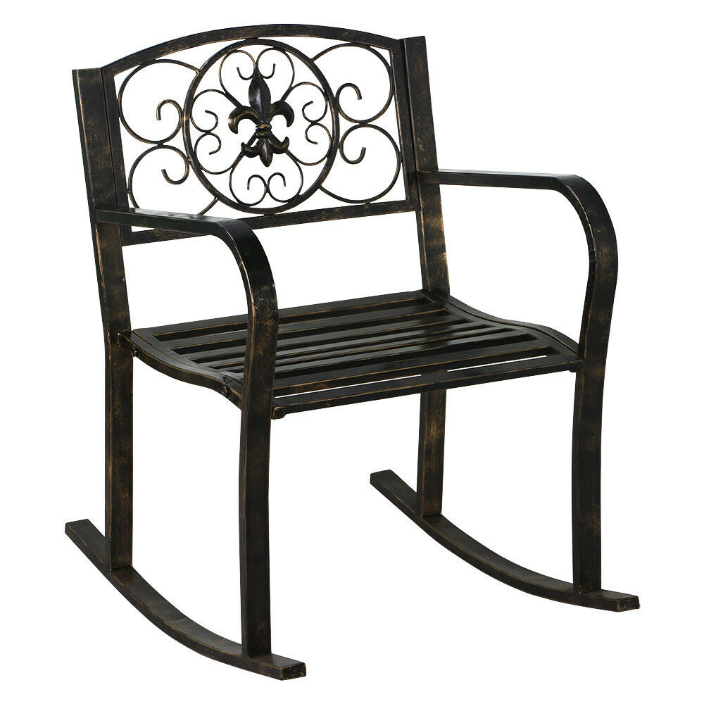 New Patio Metal Rocking Chair Porch Seat Deck Outdoor