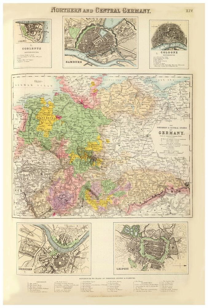 Central Germany Map.Old Vintage Northern And Central Germany Hamburg Dresden Map