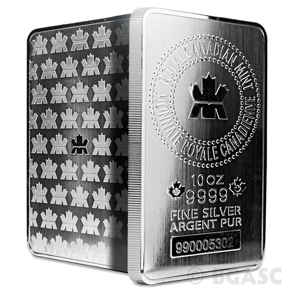 10 Oz Silver Bars Royal Canadian Mint Rcm 9999 Fine