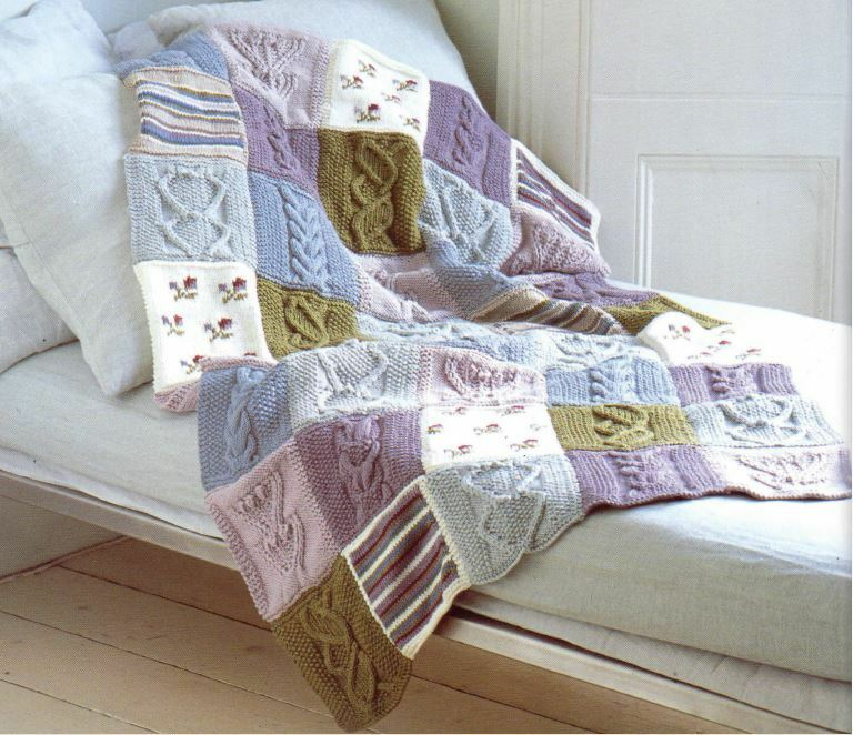 Knitting Pattern For Fab Cotton Dk Patchwork Throw Blanket