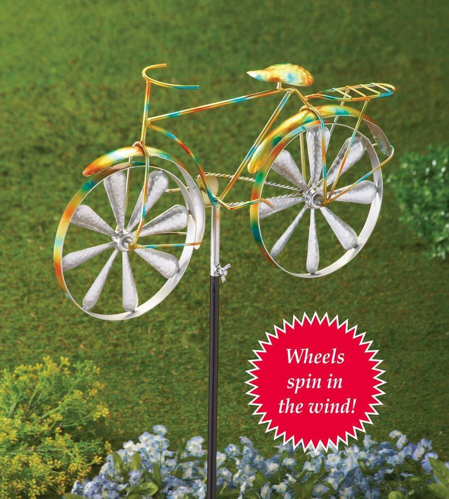 Bicycle Wind Spinner Lawn Garden Stake 42 1 2 Quot H Including