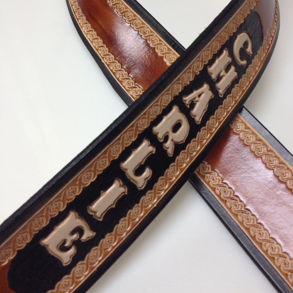 beautiful handmade custom leather guitar strap personalized with your name ebay. Black Bedroom Furniture Sets. Home Design Ideas