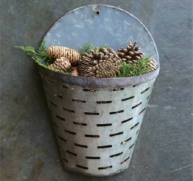 Half Olive Bucket Wall Basket Antique Farmhouse Rustic