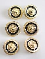 6 9 12 OR 20 black gold tone lion face designer style shank buttons design 22mm