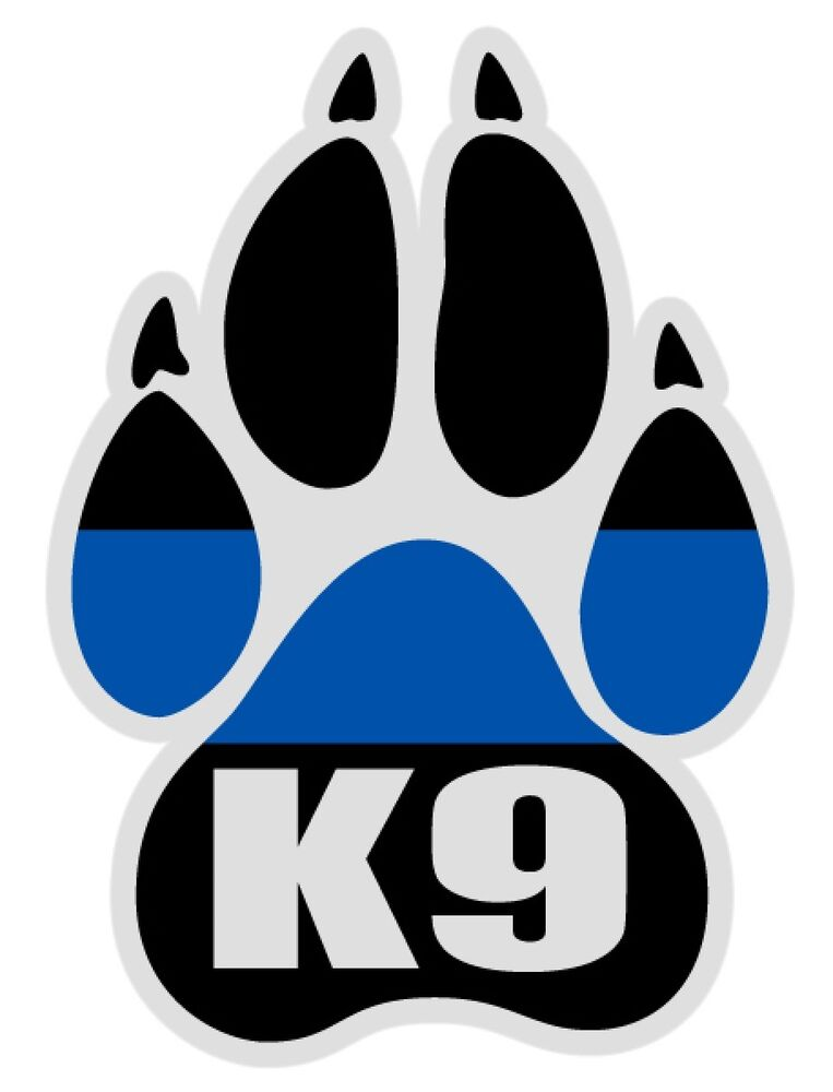 K 9 Paw Police Blue Line Large Reflective Decal Sticker Ebay