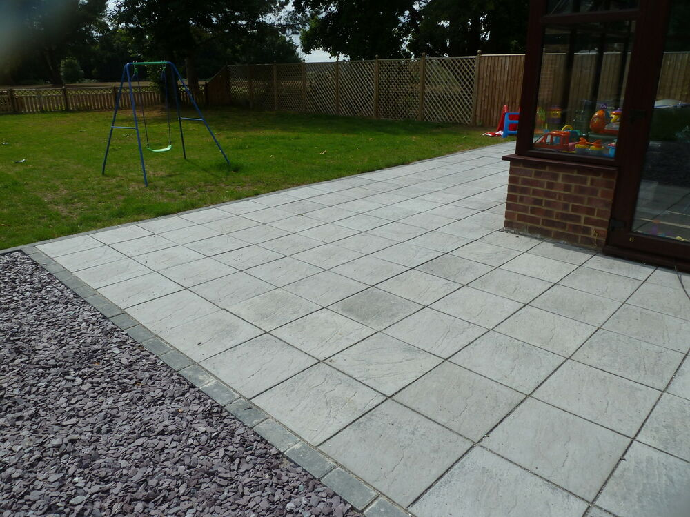 Patio slabs paving slabs decking ebay for Garden decking and slabs