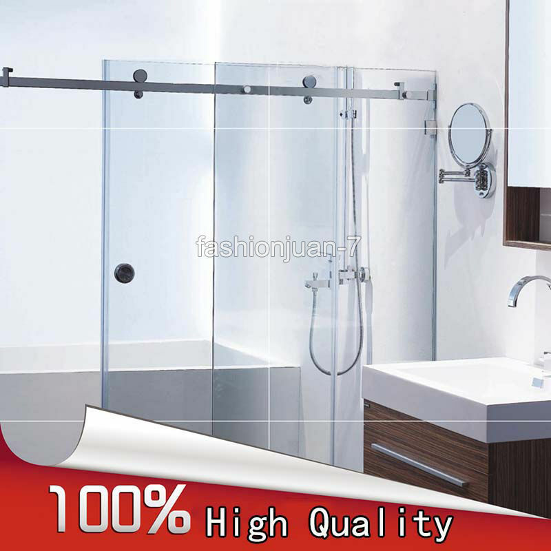 1set Stainless Steel Frameless Shower Sliding Door