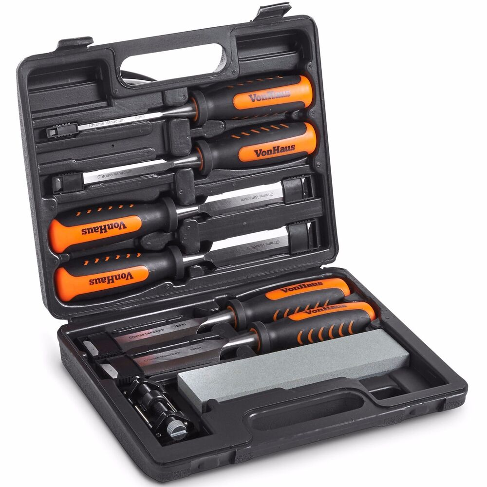 Vonhaus 8 piece wood chisel set with honing guide for Woodworking guide