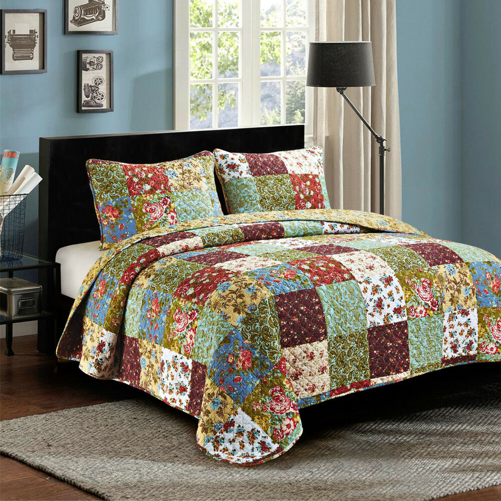 country bed sets 3 king quot vintage garden quot quilted bedding set 11302