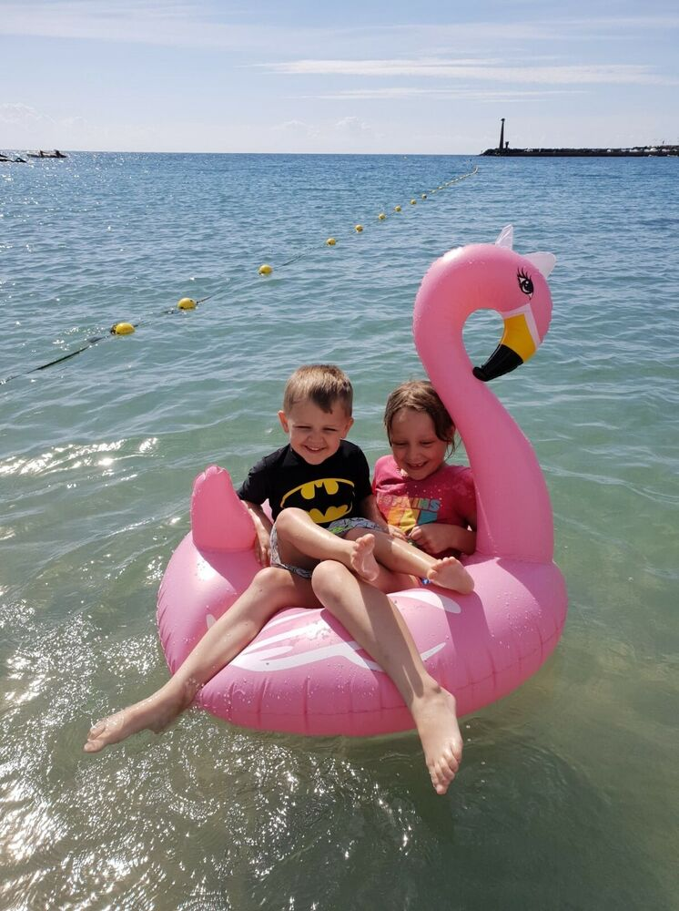 Kids Inflatable Flamingo Rubber Ring Swimming Pool Float