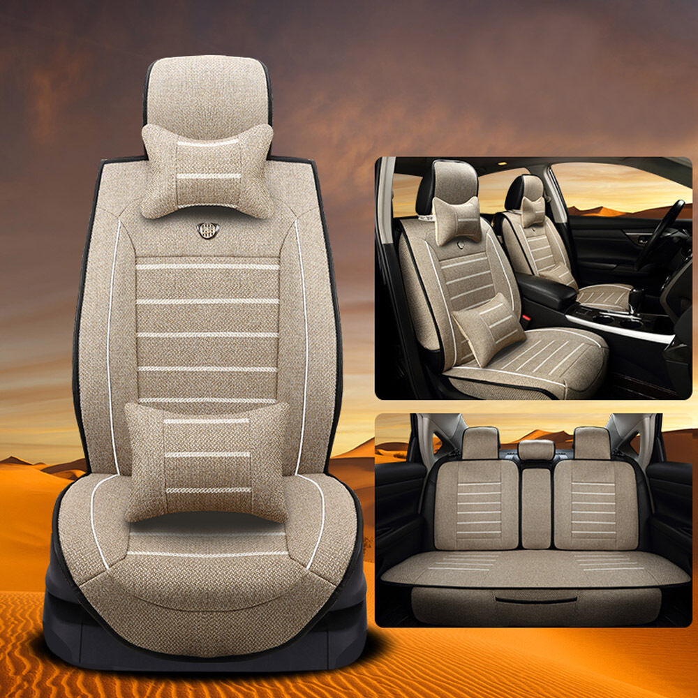 Car seat cover linen front rear cushion 5 seats neck - Car seat covers for tan interior ...