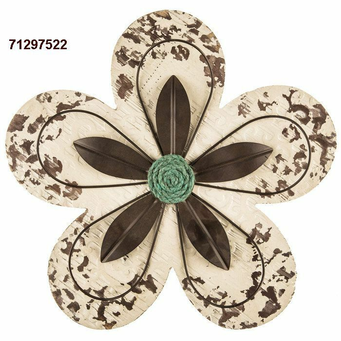 Rustic Distressed Cream Flower MDF Wood & Metal Wall Decor ... on Hobby Lobby Outdoor Wall Decor Metal id=82606