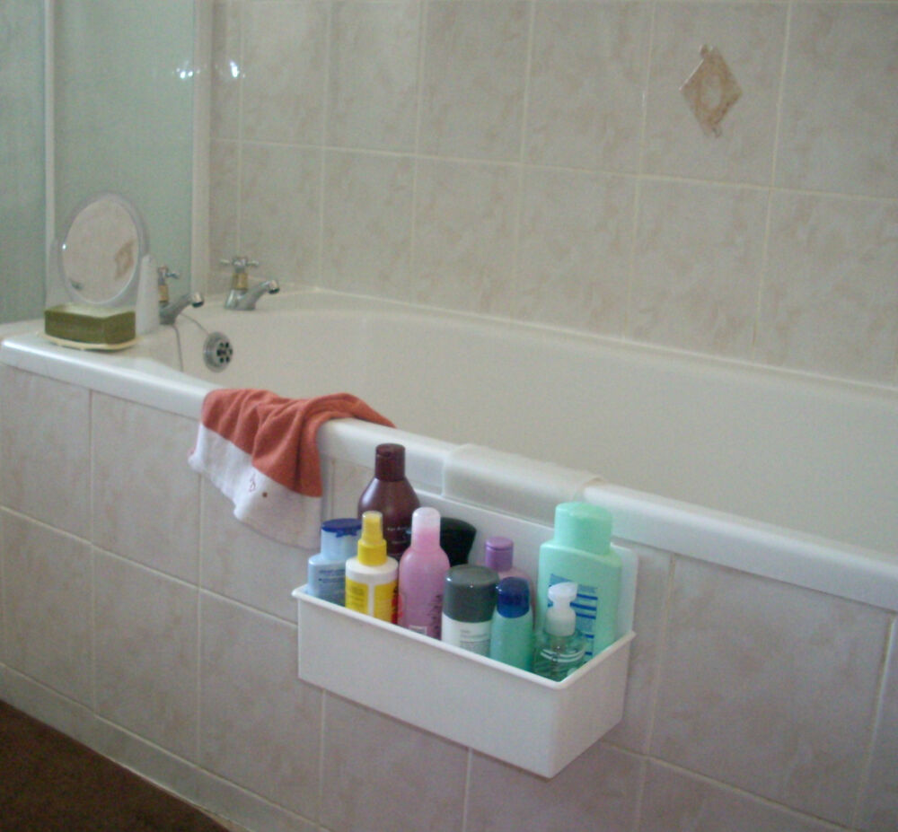 Over side bath organizer caddy tidy storage plastic shower bathroom ebay Bathroom design shower over bath