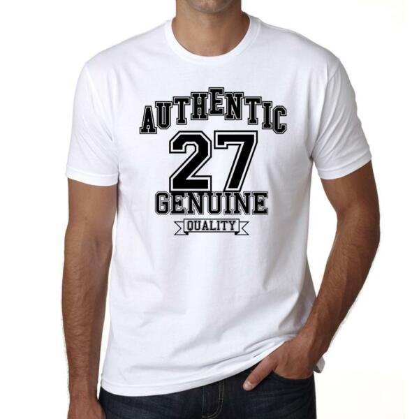 Authentic Genuine 27, Tshirt Col Rond Homme T-shirt, couleur blanc, Cadeau Tshir