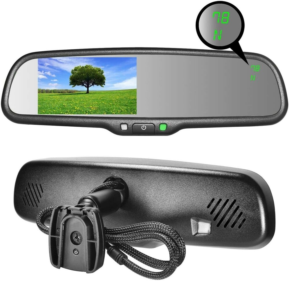 master tailgaters oem rear view mirror with 4 3 lcd w. Black Bedroom Furniture Sets. Home Design Ideas