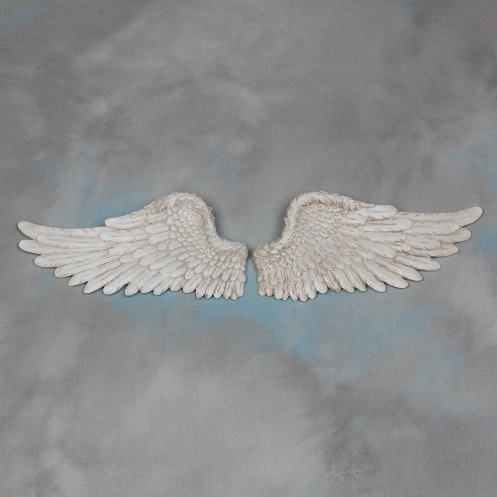 Pair Of Decorative Antique White Angel Wings Wall Hangings