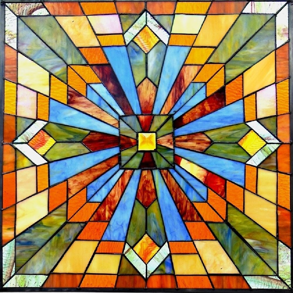 """1940s Mission Style House Gets Brilliant Transformation In: 24"""" By 24"""" STAINED GLASS WINDOW PANEL BRILLIANT MISSION"""