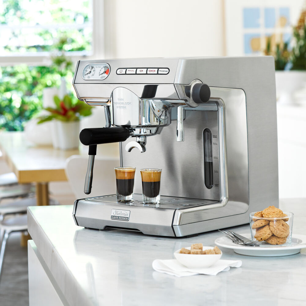 sunbeam em7000 cafe series espresso coffee machine 9311445018675 ebay. Black Bedroom Furniture Sets. Home Design Ideas