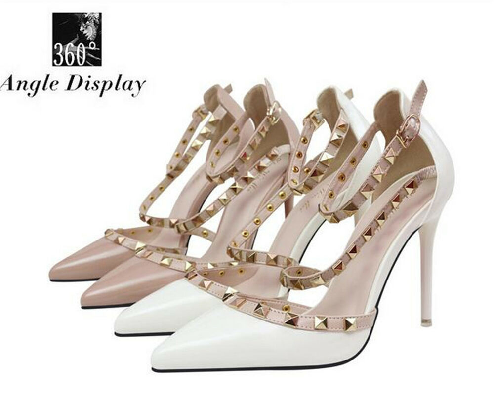 Womens Studded Shoes Pointed Toe Ankle Strappy High Heels Rivet