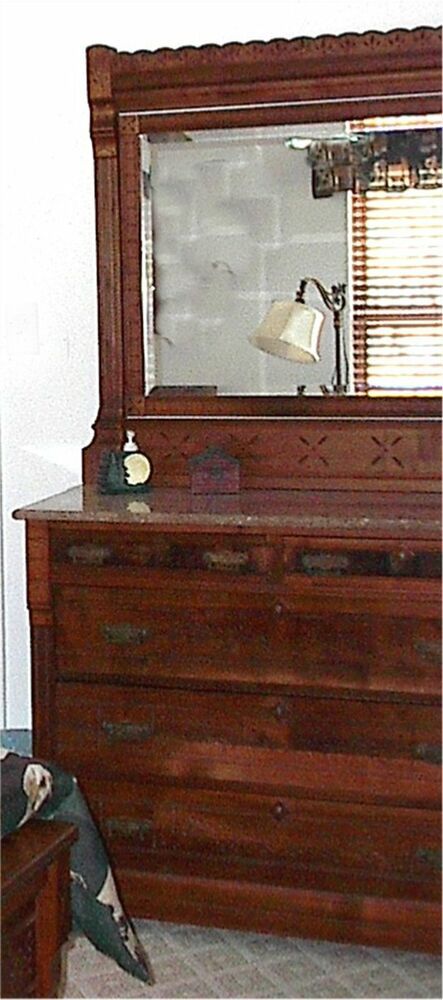 Antique eastlake bedroom set late 1800s bed dresser w mirror excellent ebay Antique bedroom dressers and chests