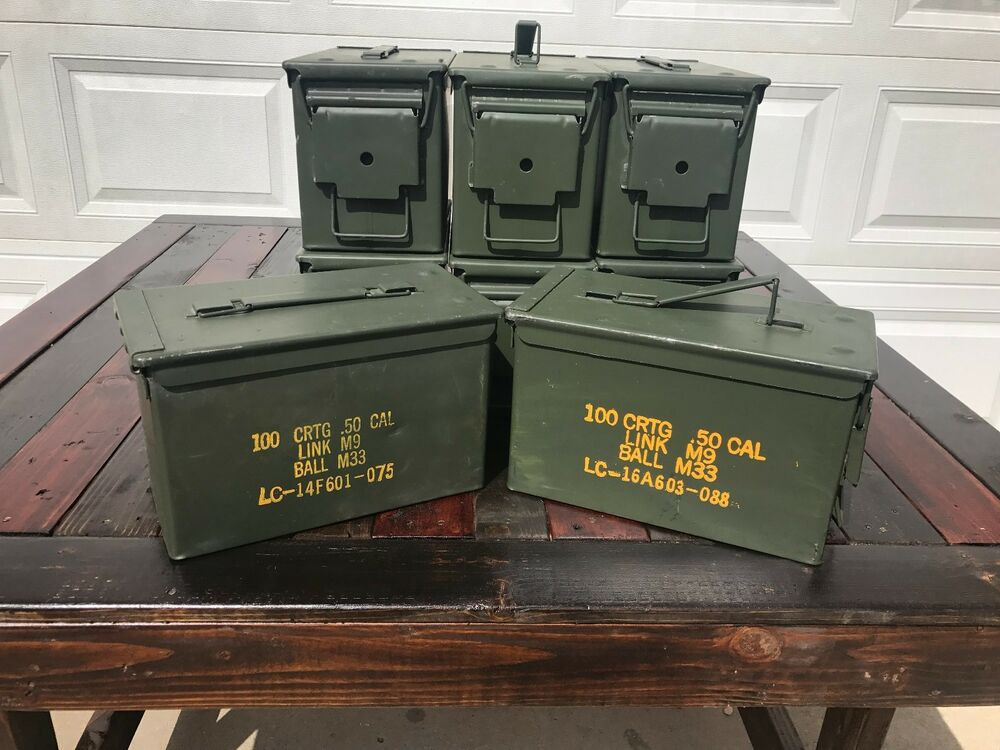 8 pack 50 cal m2a1 ammo cans boxes cases good condition free shipping ebay. Black Bedroom Furniture Sets. Home Design Ideas
