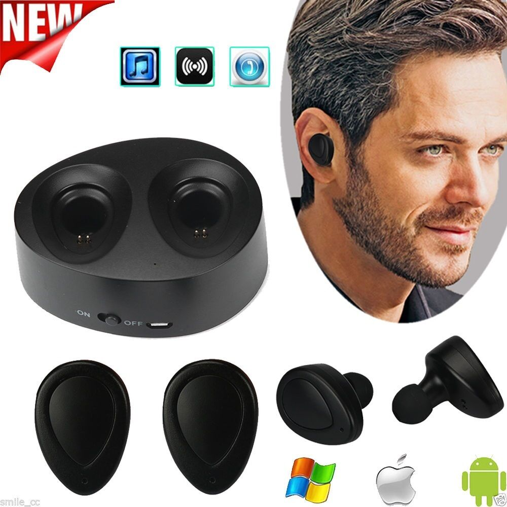mini tws twins true wireless bluetooth stereo headset in ear earphones earbuds ebay. Black Bedroom Furniture Sets. Home Design Ideas
