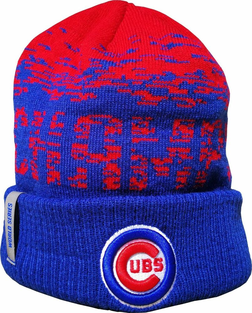 New Era Chicago Cubs World Series Champion Blue   Red Knit Hat 191323233418   6e9d65661546