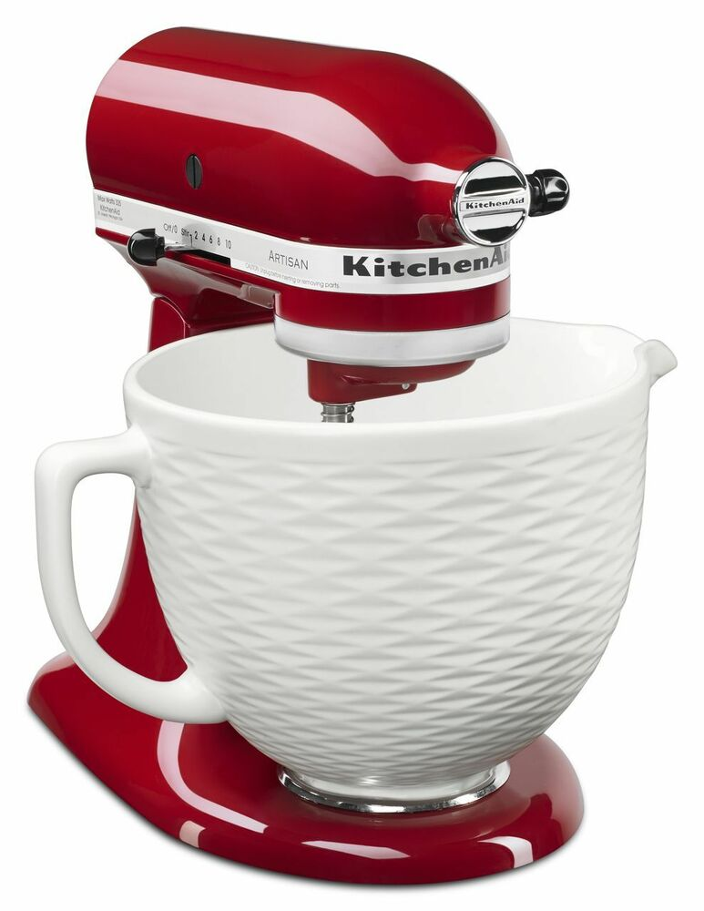 Kitchen Aid 5qt Embossed Ceramic Mixer Bowl White