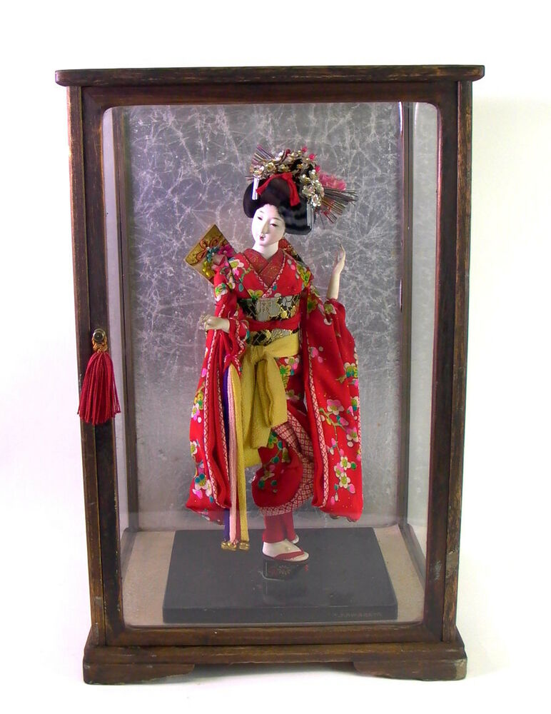 alte porzellanpuppe org vitrine t kawabata kyugetsu doll japanese geisha ebay. Black Bedroom Furniture Sets. Home Design Ideas