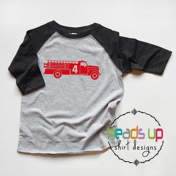 Details About Firetruck 4 Shirt Toddler Boy Girl