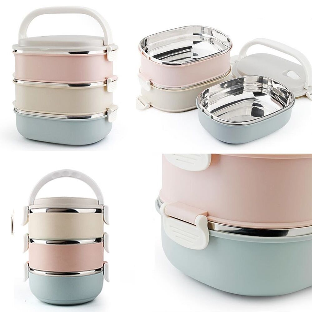 3 tier stainless steel metal bento lunch box thermal insulated food containers ebay. Black Bedroom Furniture Sets. Home Design Ideas