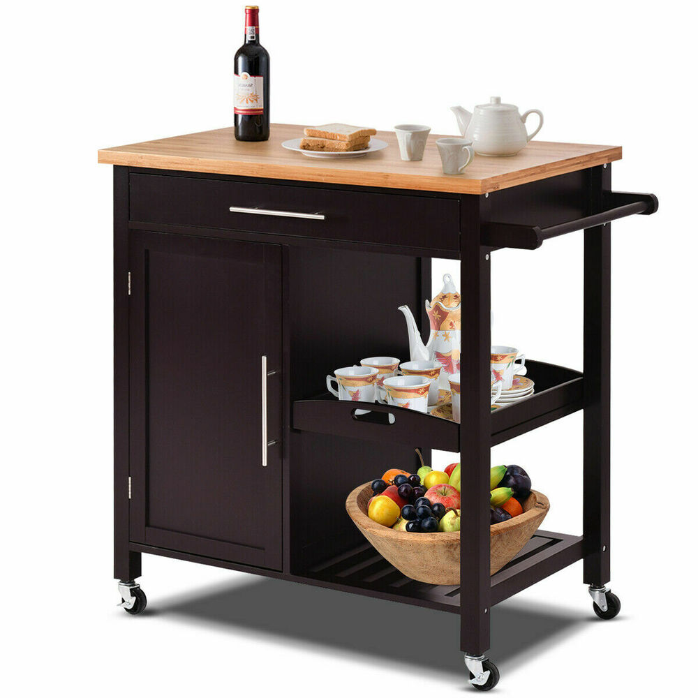 Rolling Wood Kitchen Island Trolley Cart Bamboo Top Storage Cabinet Utility New Ebay