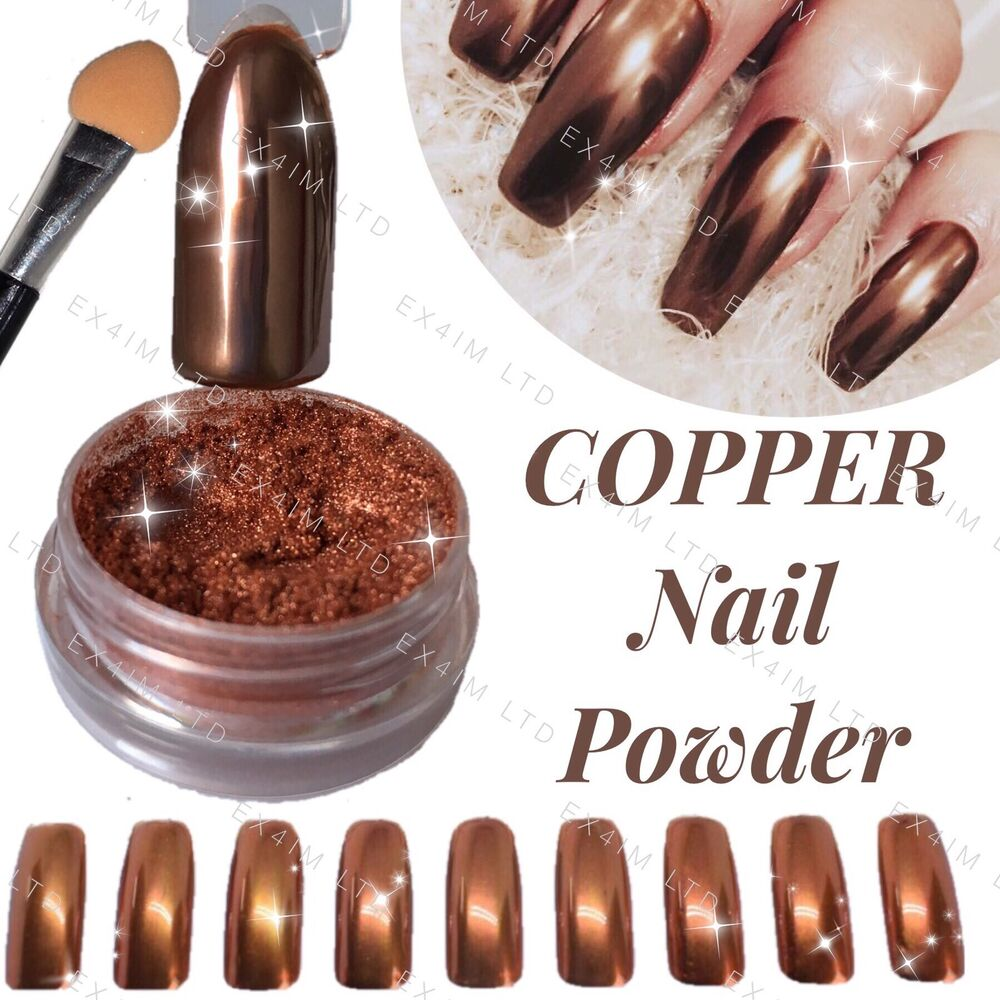 Nail Polish Colors Bronze: COPPER NAILS POWDER BRONZE Mirror Chrome Effect Pigment