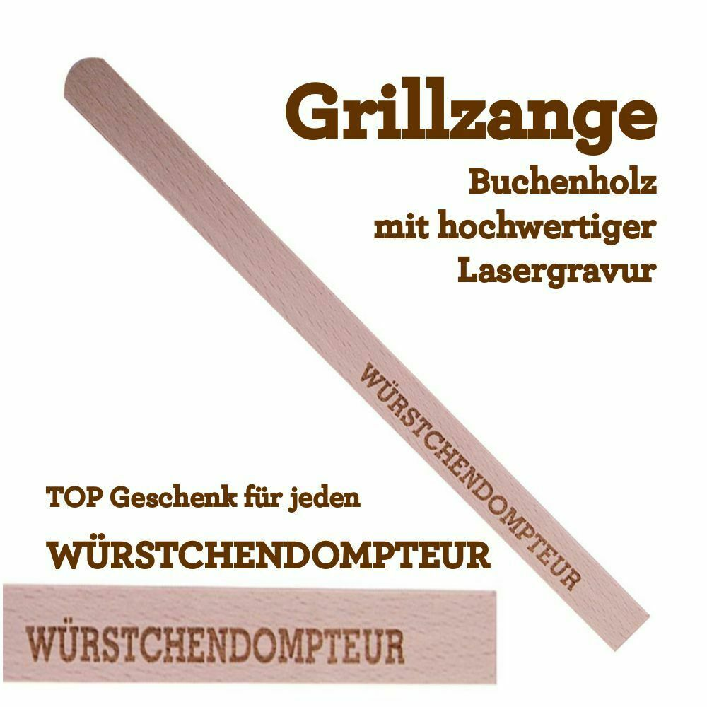 grillzange w rstchendompteur holz mit gravur geburtstag geschenk mann grillen ebay. Black Bedroom Furniture Sets. Home Design Ideas