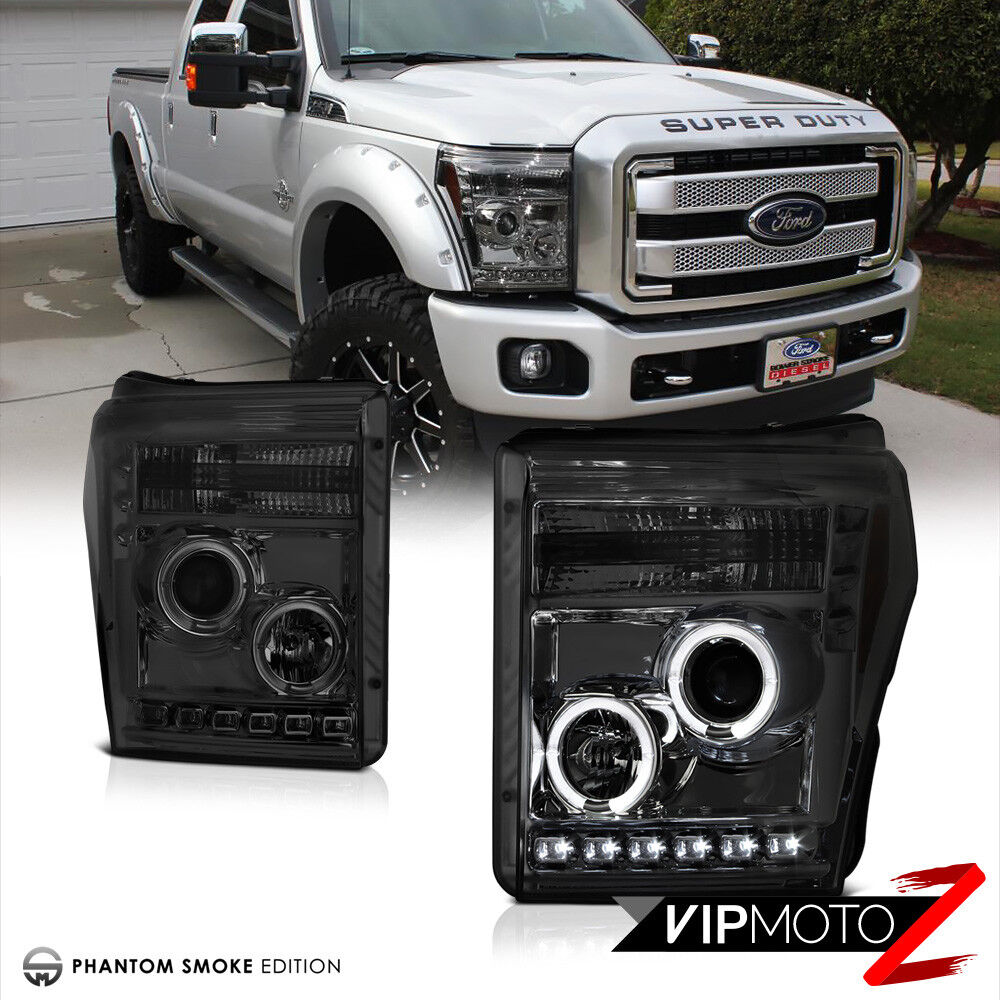 Ford F 250 Super Duty 2016 >> 2011-2016 Ford F250 F350 F450 SuperDuty Smoke Halo LED Projector Headlights PAIR 7425935092068 ...
