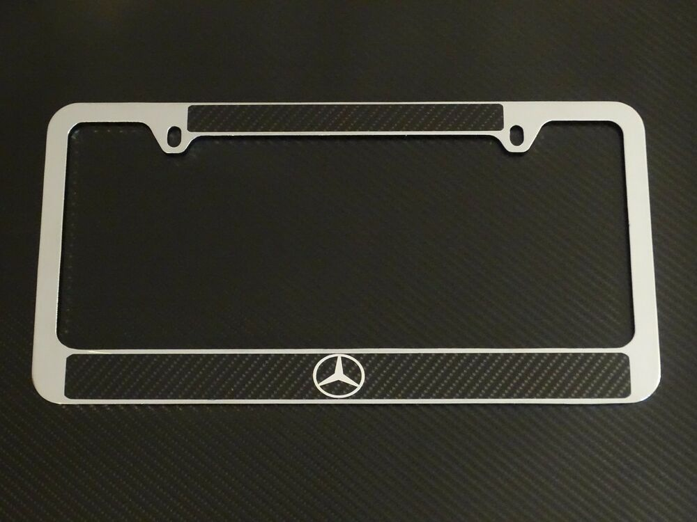 Mercedes benz logo license plate frame carbon fiber for Mercedes benz license plate logo