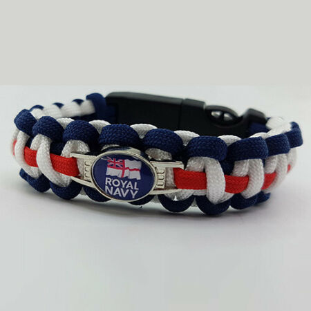img-Royal Navy with Flag Badged Survival Bracelet Tactical Edge Wristband Gift