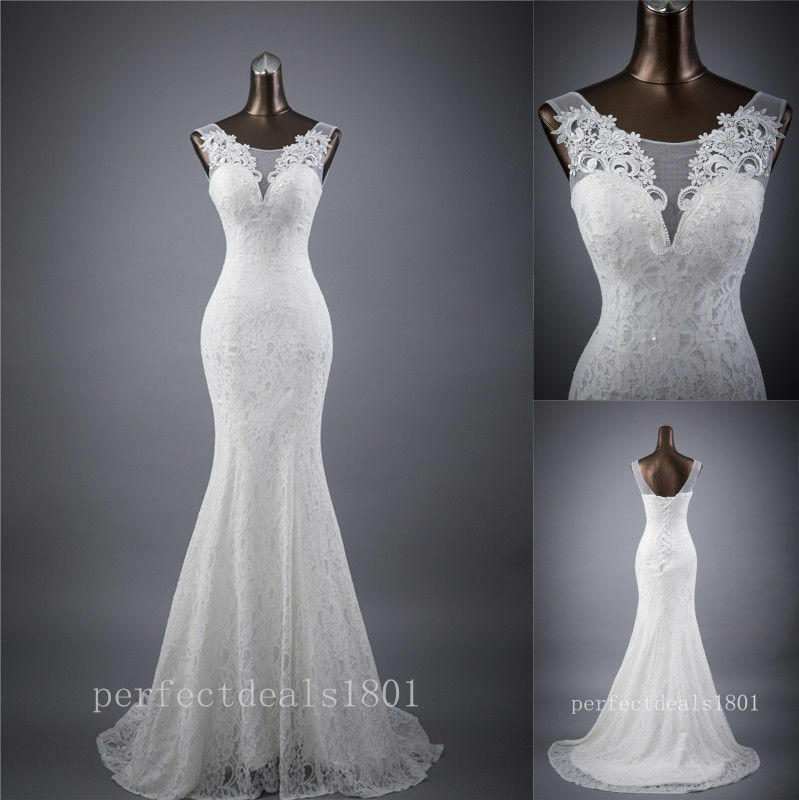 New mermaid white ivory bridal gown wedding dress custom for Ebay wedding dresses size 6