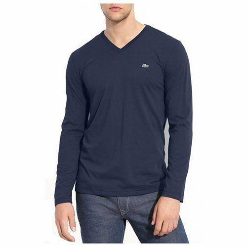 afdfaae4ad56d3 Details about NEW TH1370 51 166 Lacoste Pima Cotton V-Neck T-Shirt!! NAVY