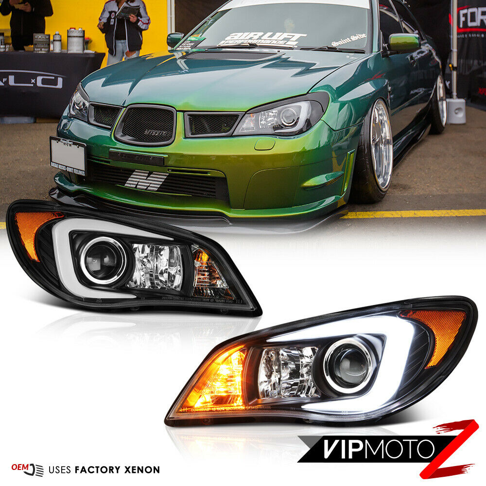 Quot Latest Oled Tube Quot Black Headlights D2s Factory Xenon For 06 07 Subaru Wrx Sti Ebay