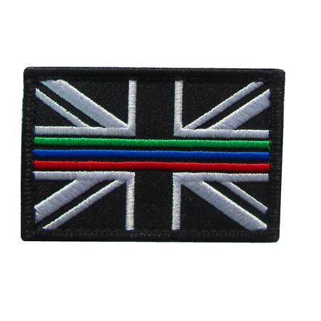 img-Triple Thin Blue Green Red Line Emergency Service Union Jack Patch Badge LARGE