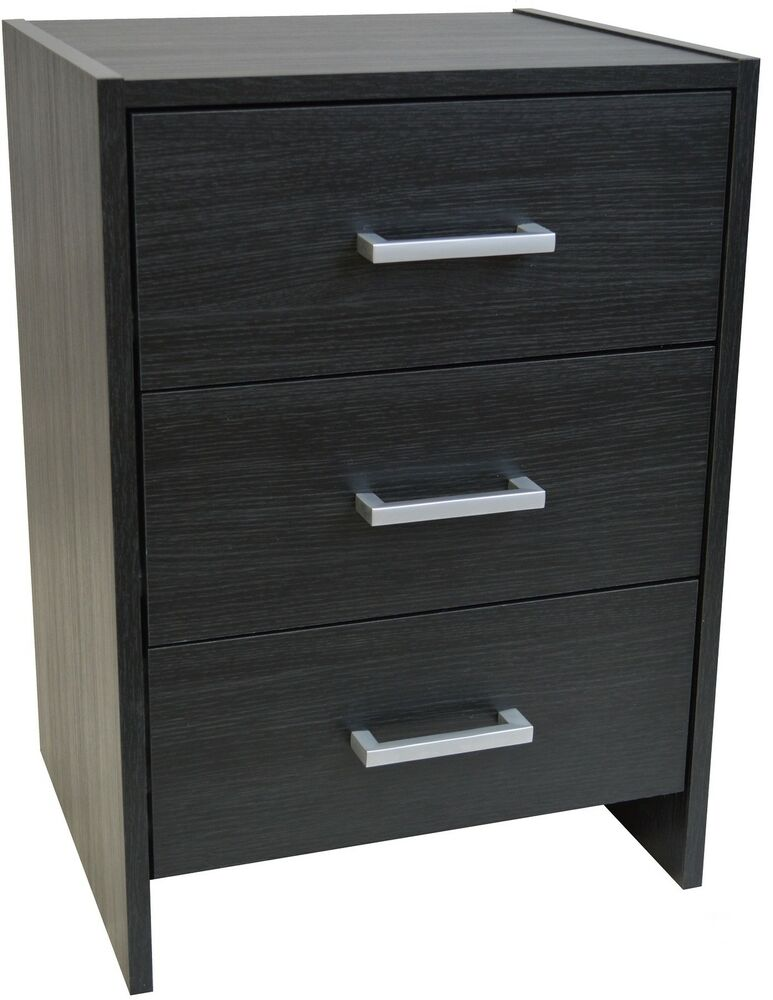 bedside table black 3 drawer bedside cabinet night stand. Black Bedroom Furniture Sets. Home Design Ideas